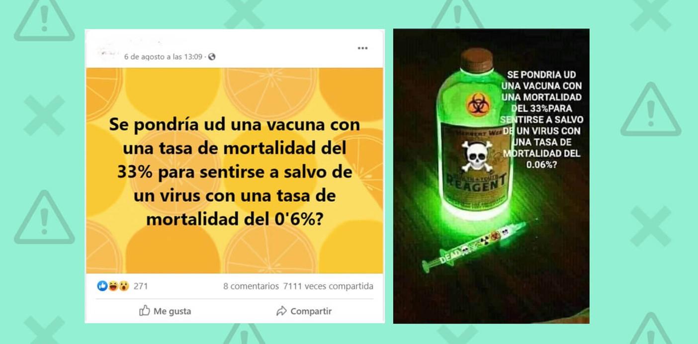 Es falso que las vacunas contra la Covid-19 tengan una tasa de mortalidad del 33%, como dice un bulo