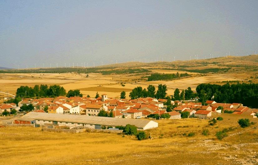 Perspectiva del pueblo de Campisábalos, en el noroeste de Guadalajara